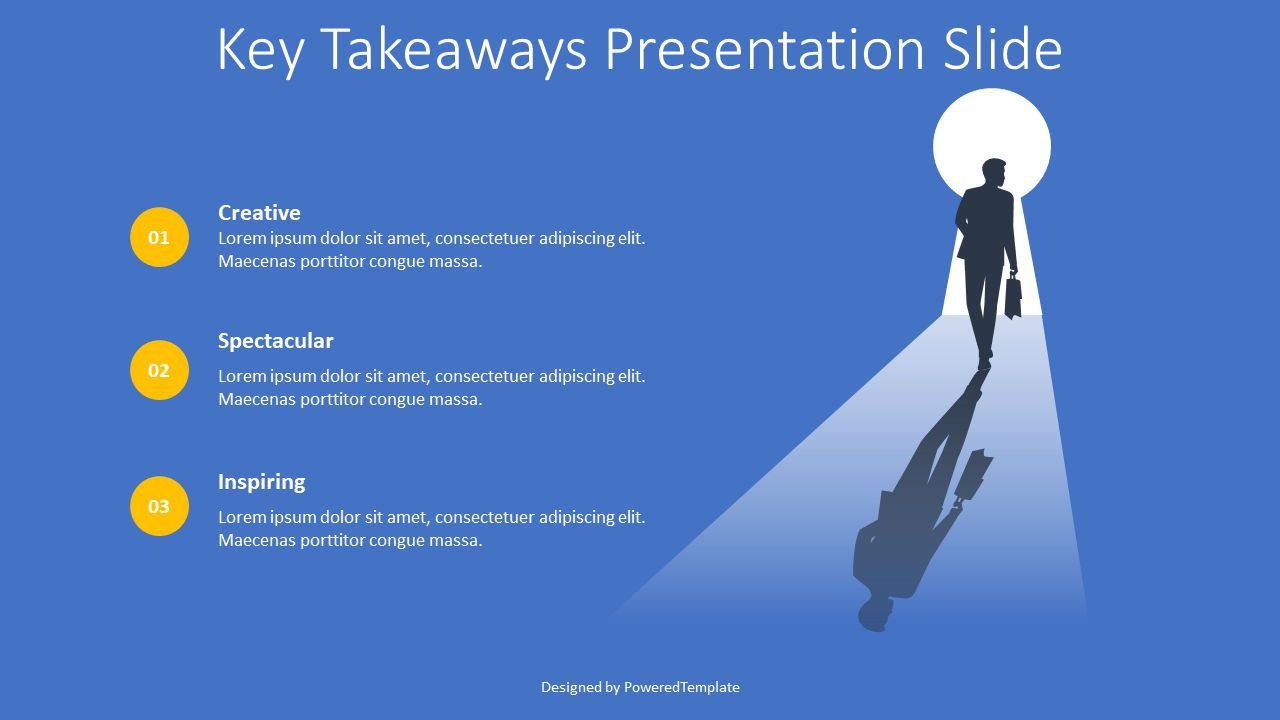 Key Takeaways Presentation Slide, 08418, 교육 차트 및 도표 — PoweredTemplate.com