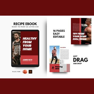 Presentation Templates: Fitness at your home ebook print template #08424