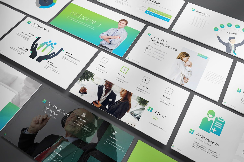 Insurance Google Slide Templates, 08434, Business Models — PoweredTemplate.com