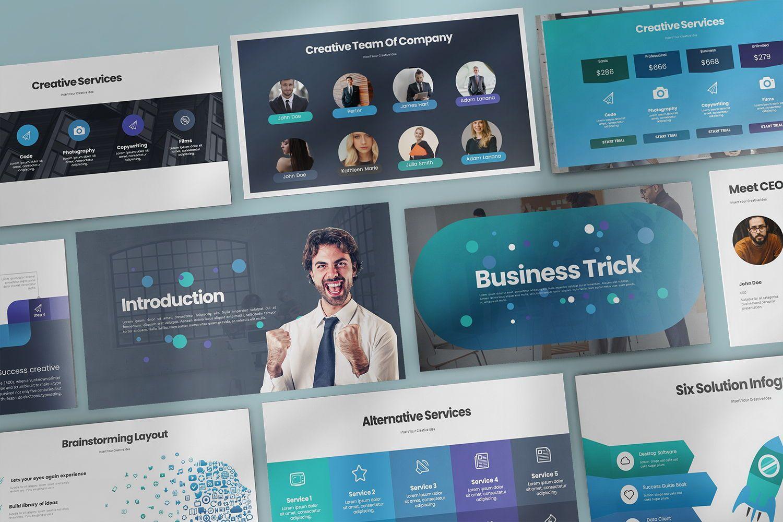 Business Trick Google Slide Templates, 08437, Business Models — PoweredTemplate.com