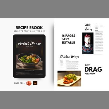 Presentation Templates: Perfect dinner recipe ebook print template #08438