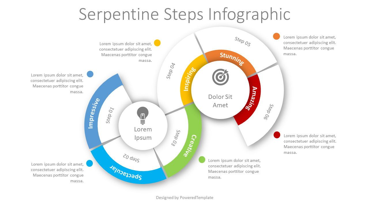 Serpentine Steps Flow Process, 08458, Infographics — PoweredTemplate.com