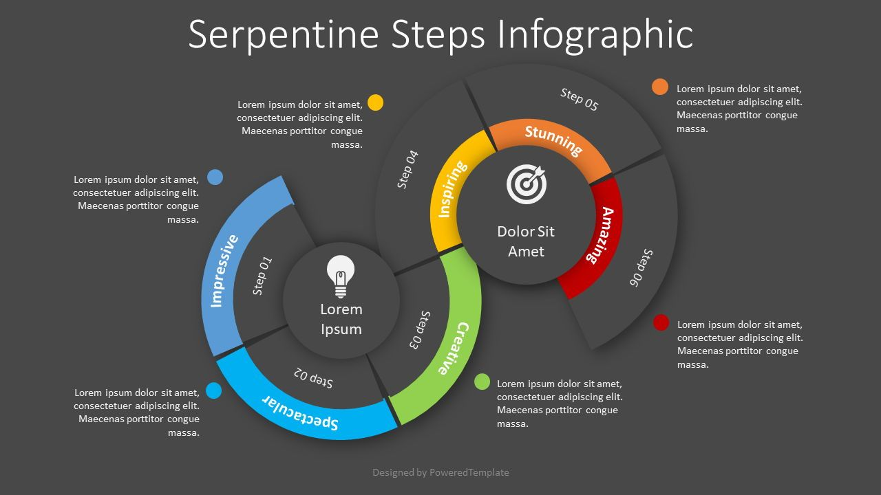 Serpentine Steps Flow Process, Slide 2, 08458, Infographics — PoweredTemplate.com