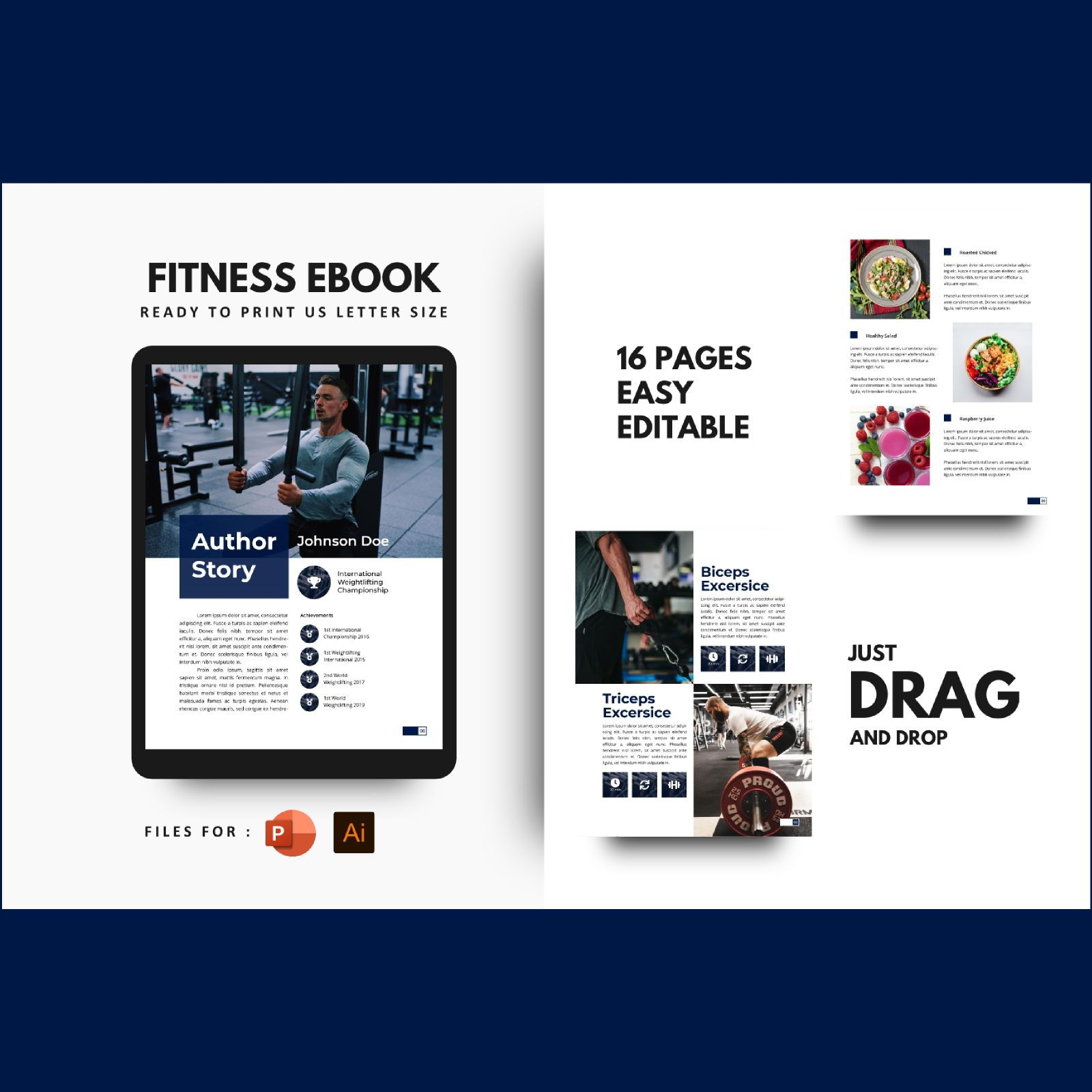 Stay healthy at home fitness ebook template, 08480, Infographics — PoweredTemplate.com