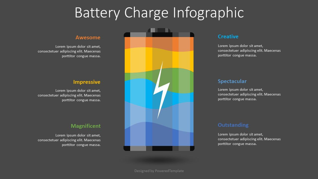 Battery Charge Infographic, 08483, Infographics — PoweredTemplate.com