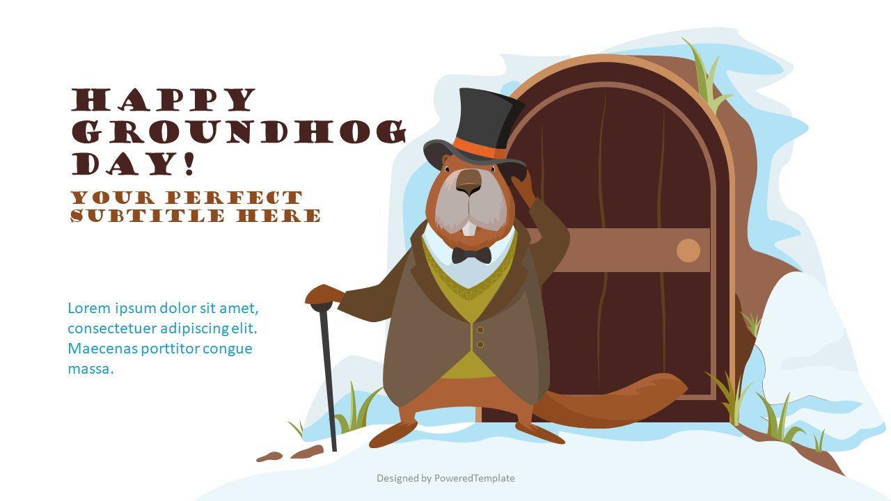Happy Groundhog Day Cover Slide, 08484, Presentation Templates — PoweredTemplate.com