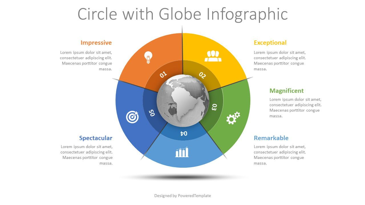 Globe with 5 Options Infographic, 08490, Process Diagrams — PoweredTemplate.com