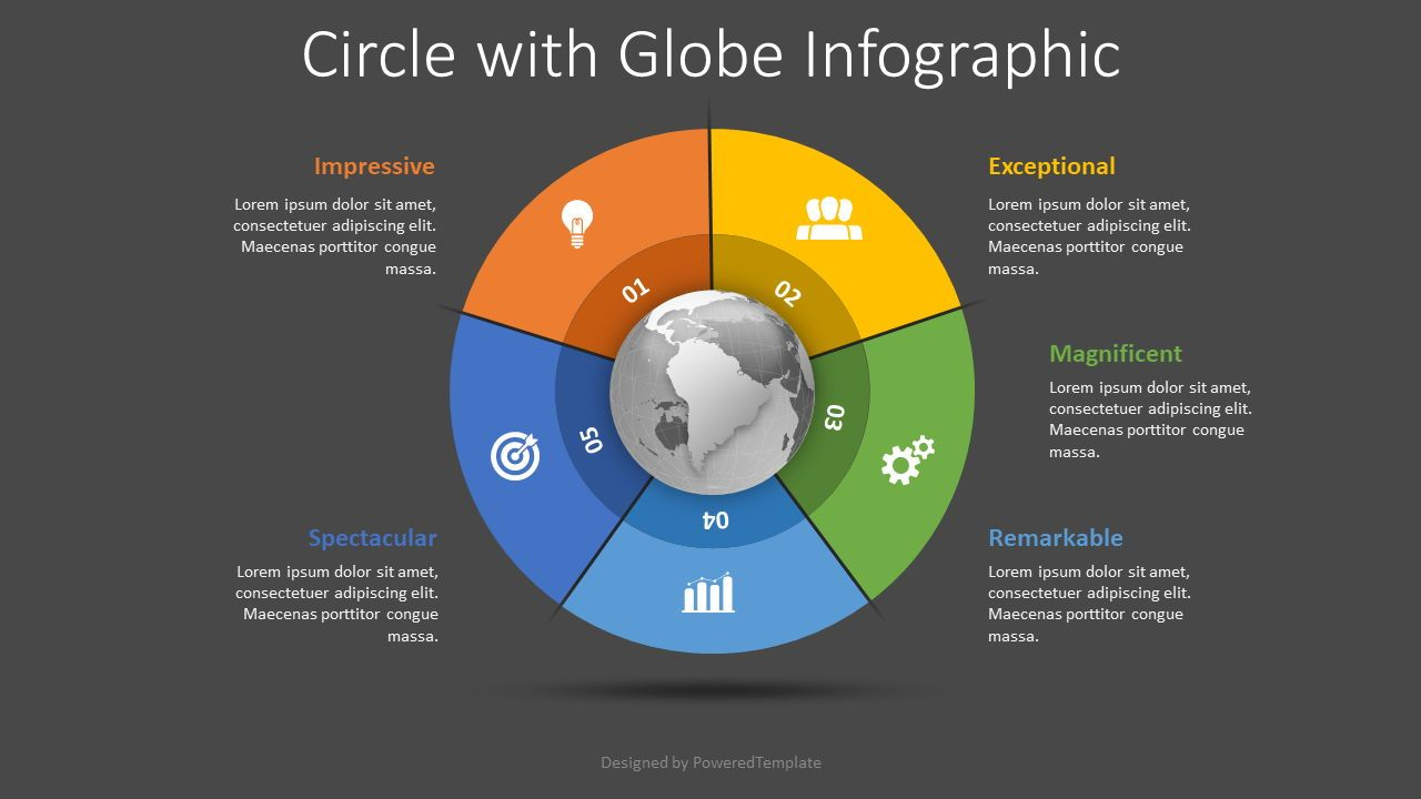 Globe with 5 Options Infographic, Slide 2, 08490, Process Diagrams — PoweredTemplate.com