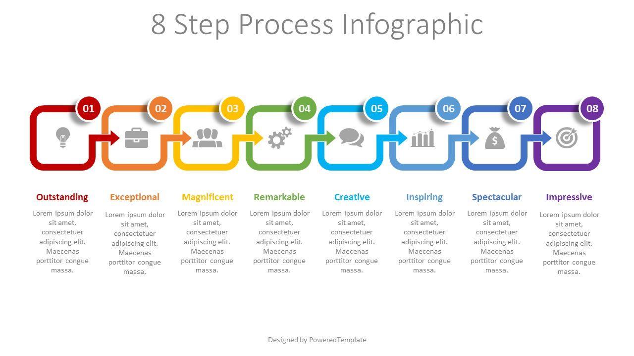 8 Step Process Infographic, 08493, Process Diagrams — PoweredTemplate.com