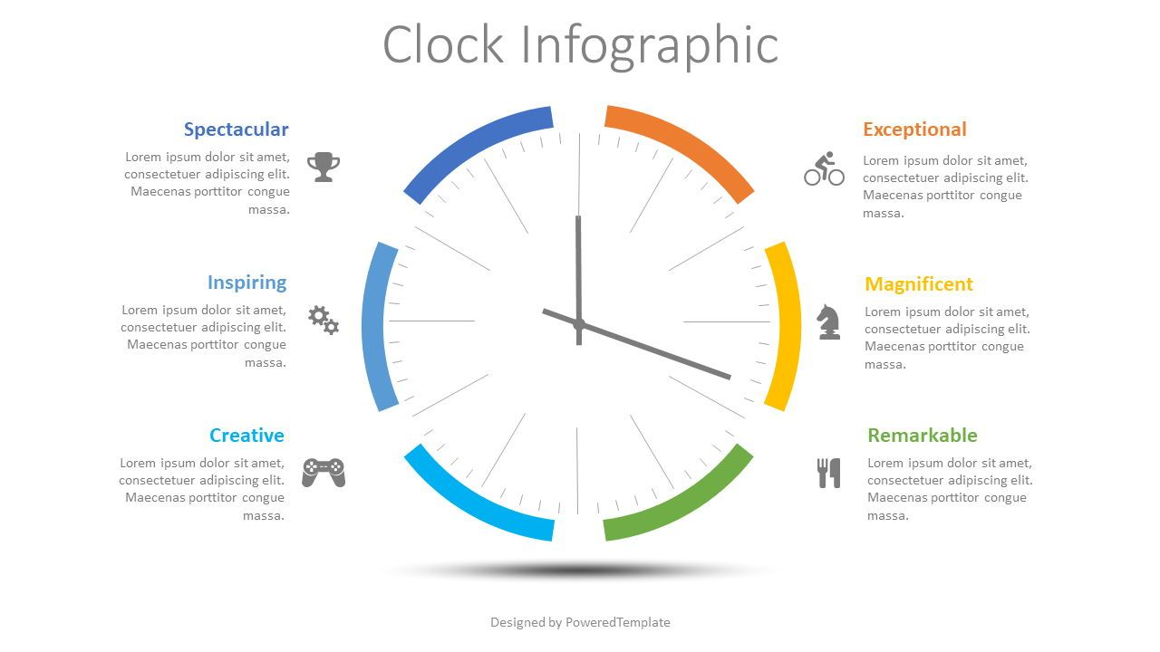 Clock Face Infographic, 08496, Stage Diagrams — PoweredTemplate.com