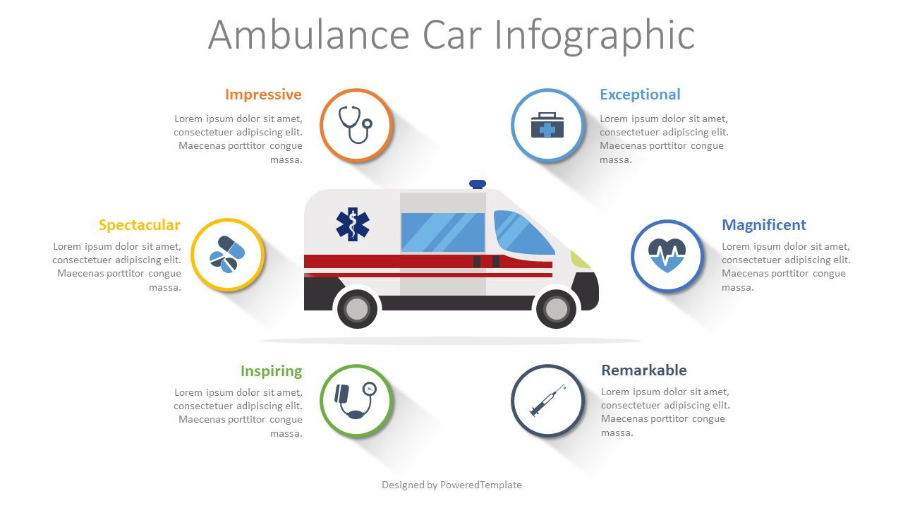 Ambulance Car Infographic, 08502, Medical Diagrams and Charts — PoweredTemplate.com