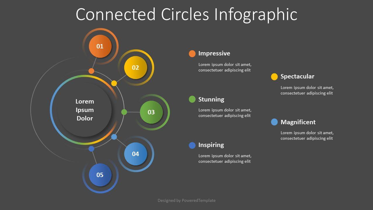 Connected Circles Diagram, 08505, Flow Charts — PoweredTemplate.com