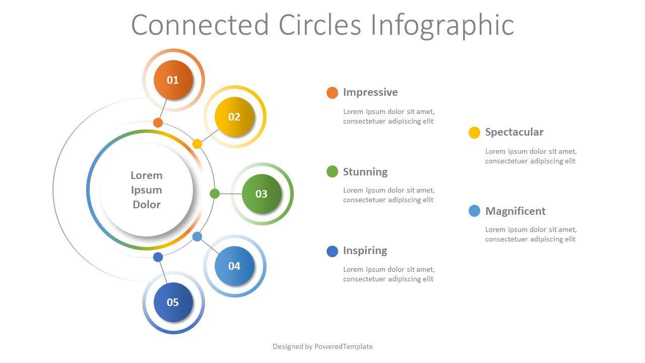 Connected Circles Diagram, Slide 2, 08505, Flow Charts — PoweredTemplate.com