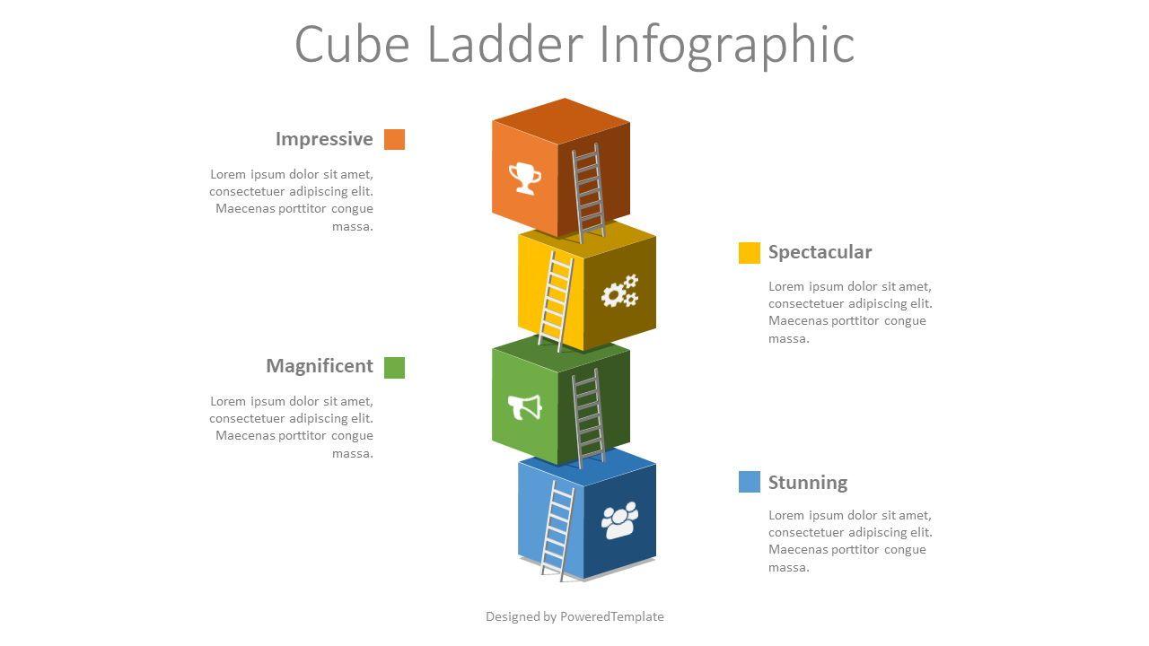 Cube Ladder Infographic, 08536, Infographics — PoweredTemplate.com