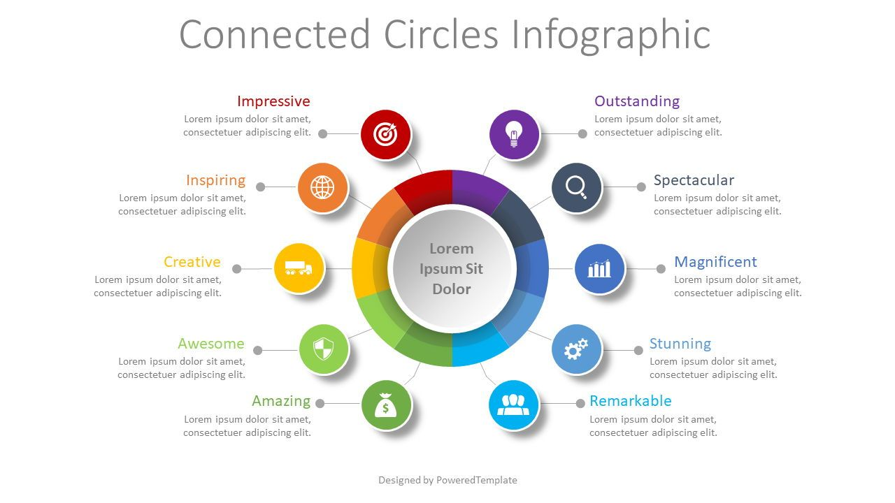 10 Connected Circles Diagram, 08539, Infographics — PoweredTemplate.com