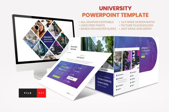 Presentation Templates: University - Education College Power Point Template #08541
