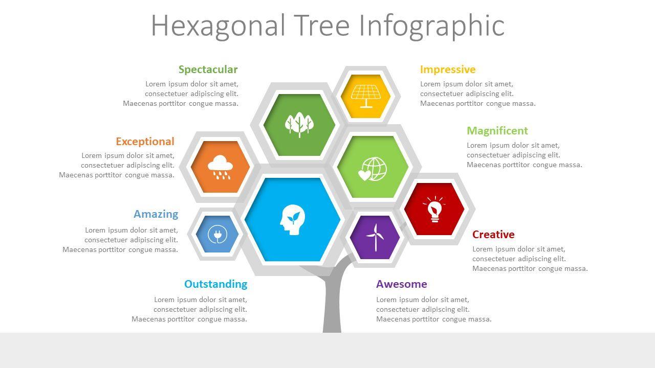 Hexagonal Tree Infographic, 08543, Infographics — PoweredTemplate.com