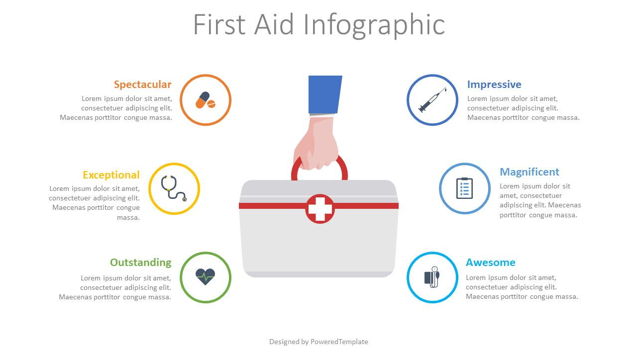 First Aid Infographic, 08546, Medical Diagrams and Charts — PoweredTemplate.com