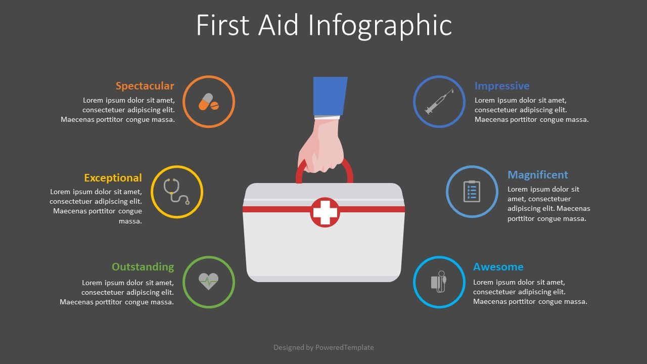 First Aid Infographic, Slide 2, 08546, Medical Diagrams and Charts — PoweredTemplate.com