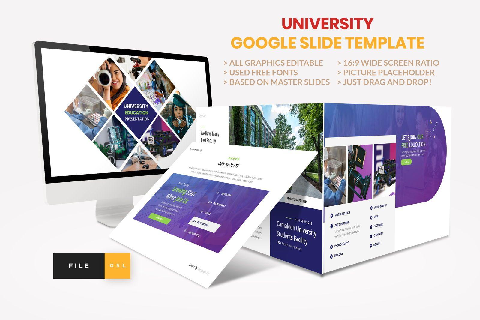 University - Education College Google Slide Template, 08550, Presentation Templates — PoweredTemplate.com