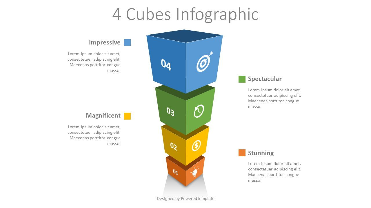 4 Stacked Cubes Infographic, 08555, Infographics — PoweredTemplate.com