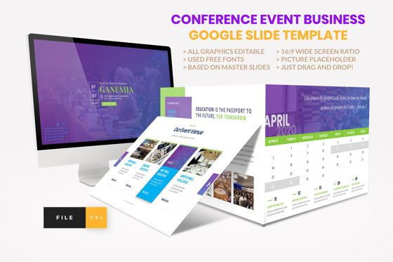 Presentation Templates: Conference - Event Business Google Slide Template #08568