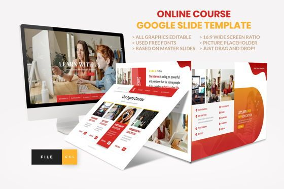 Presentation Templates: Online Course - Education Google Slide Template #08574
