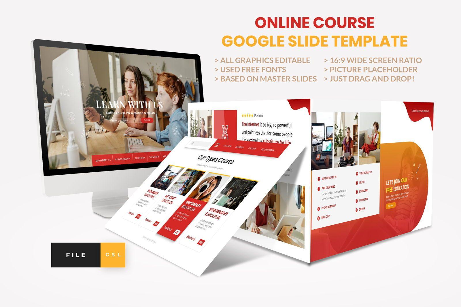 Online Course - Education Google Slide Template, 08574, Presentation Templates — PoweredTemplate.com
