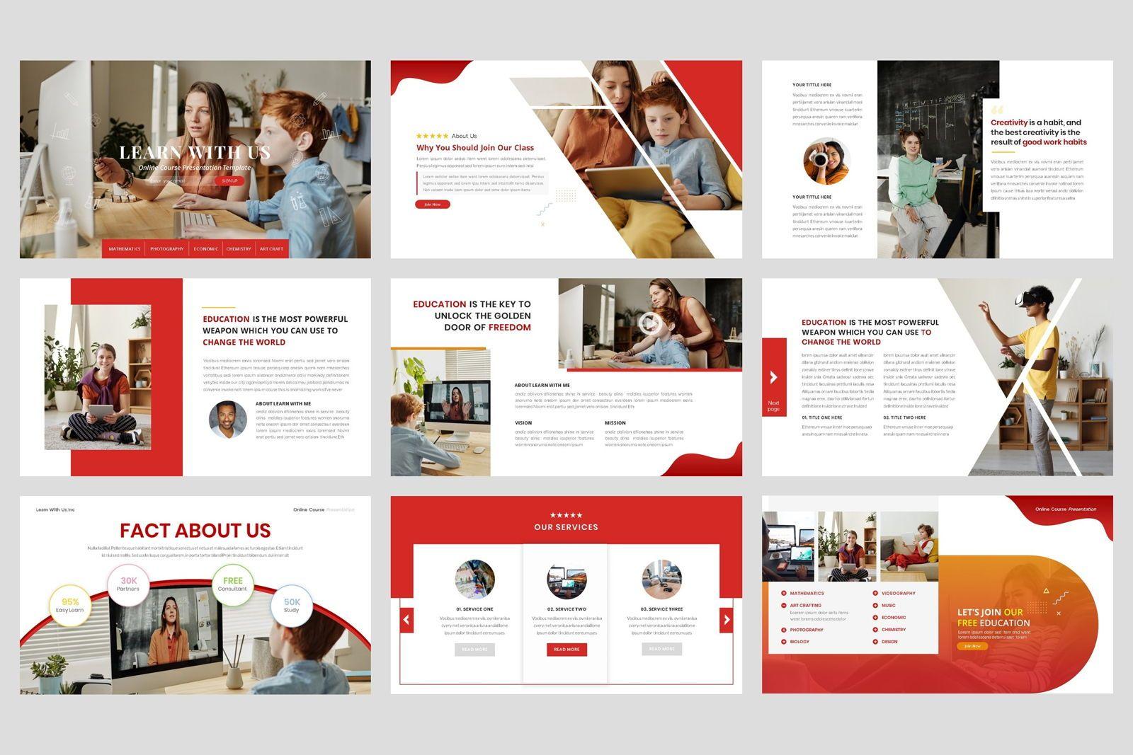 Online Course - Education Google Slide Template, Slide 2, 08574, Presentation Templates — PoweredTemplate.com