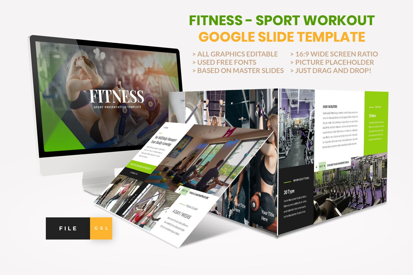 Sport - Fitness Business Workout Google Slide Template, 08577, Presentation Templates — PoweredTemplate.com