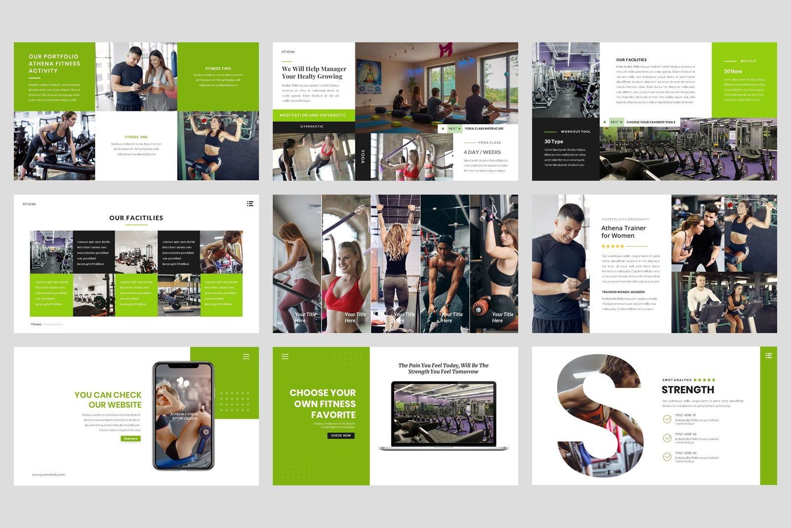 Sport - Fitness Business Workout Google Slide Template, Slide 4, 08577, Presentation Templates — PoweredTemplate.com