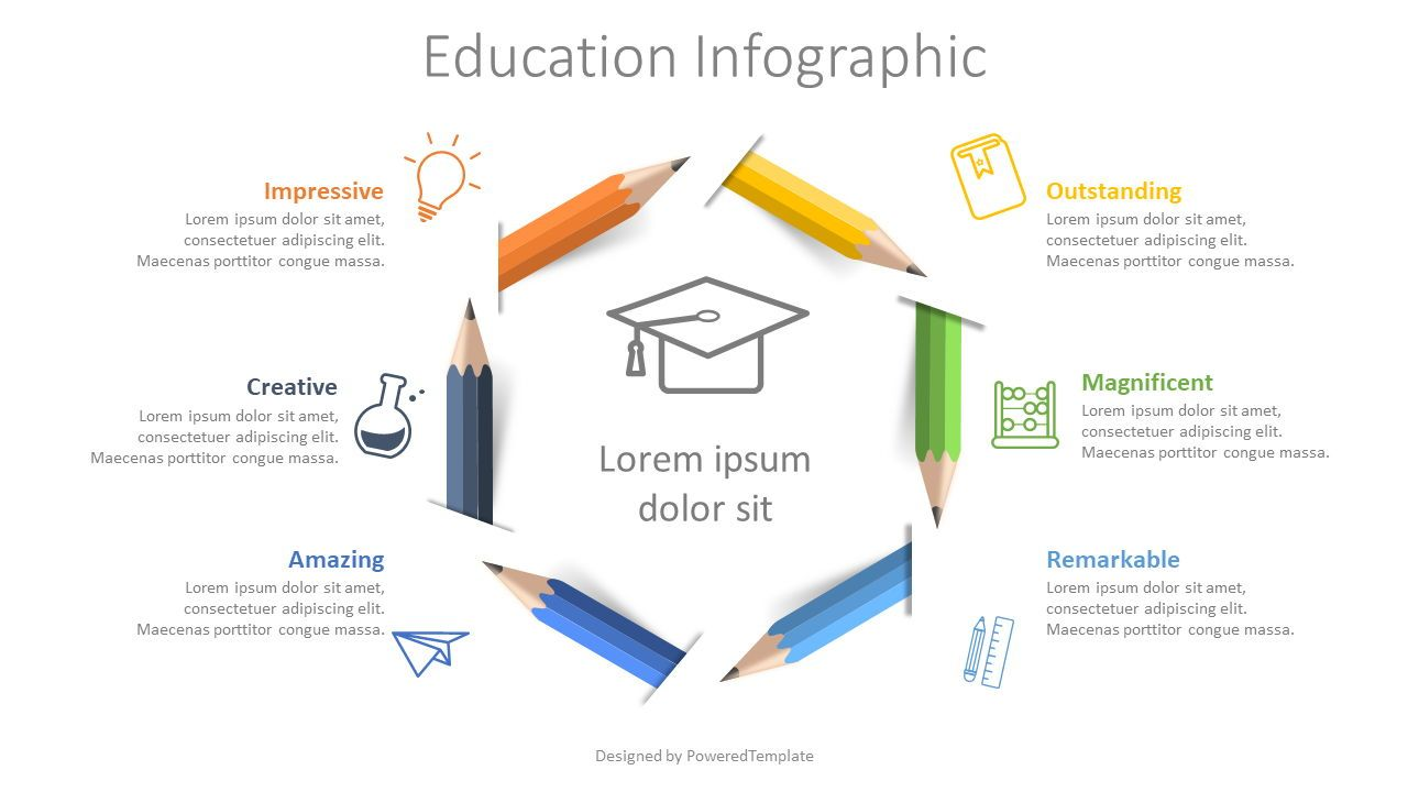 Colored Pencils Infographic, 08587, Education Charts and Diagrams — PoweredTemplate.com