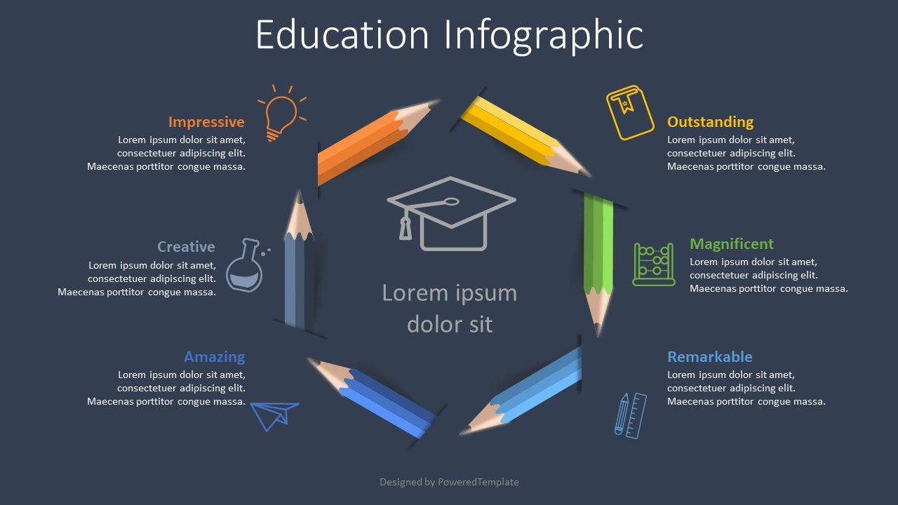 Colored Pencils Infographic, Slide 2, 08587, Education Charts and Diagrams — PoweredTemplate.com