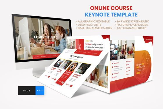Presentation Templates: Online Course - Education Keynote Template #08589