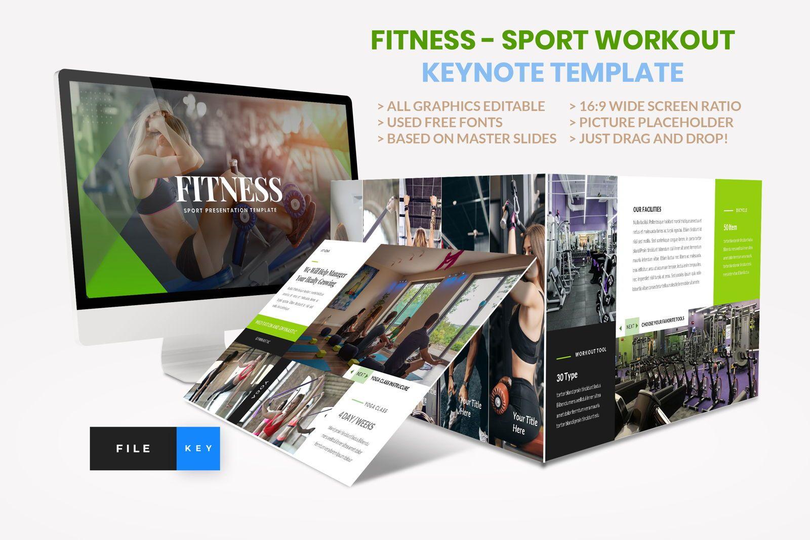 Sport - Fitness Business Workout Keynote Template, 08592, Presentation Templates — PoweredTemplate.com