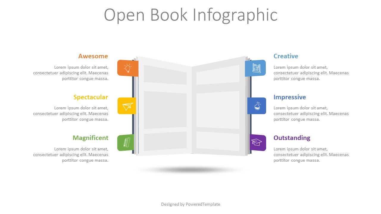Open Book Infographic, 08599, Education Charts and Diagrams — PoweredTemplate.com