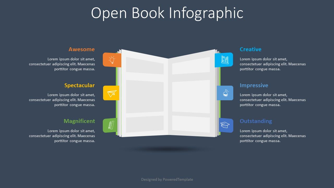 Open Book Infographic, Slide 2, 08599, Education Charts and Diagrams — PoweredTemplate.com