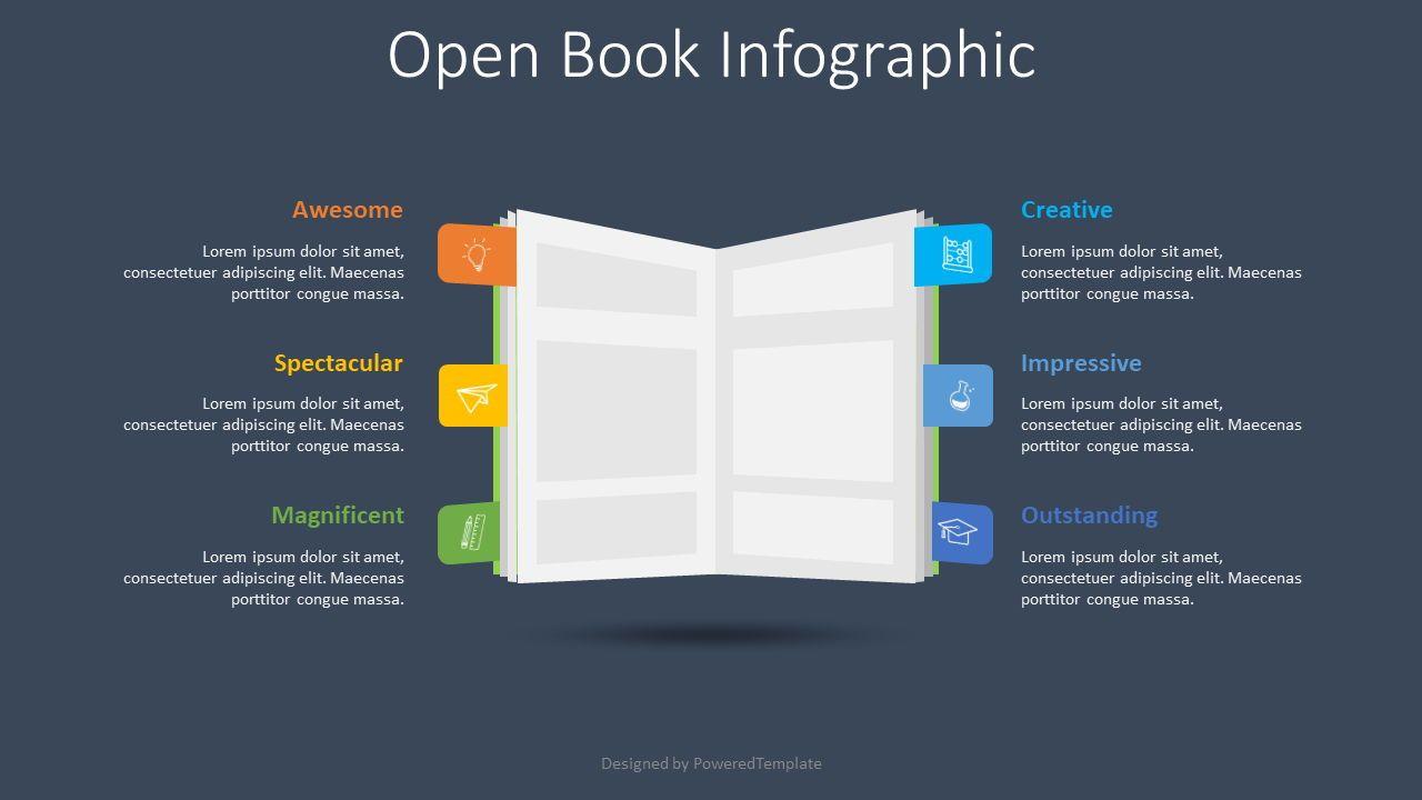 Open Book Infographic, Deslizar 2, 08599, Gráficos e Diagramas de Educação — PoweredTemplate.com