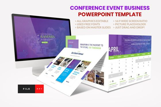 Presentation Templates: Conference - Event Business PowerPoint Template #08601