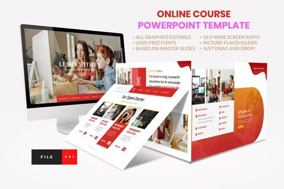 Presentation Templates: Online Course - Education PowerPoint Template #08606