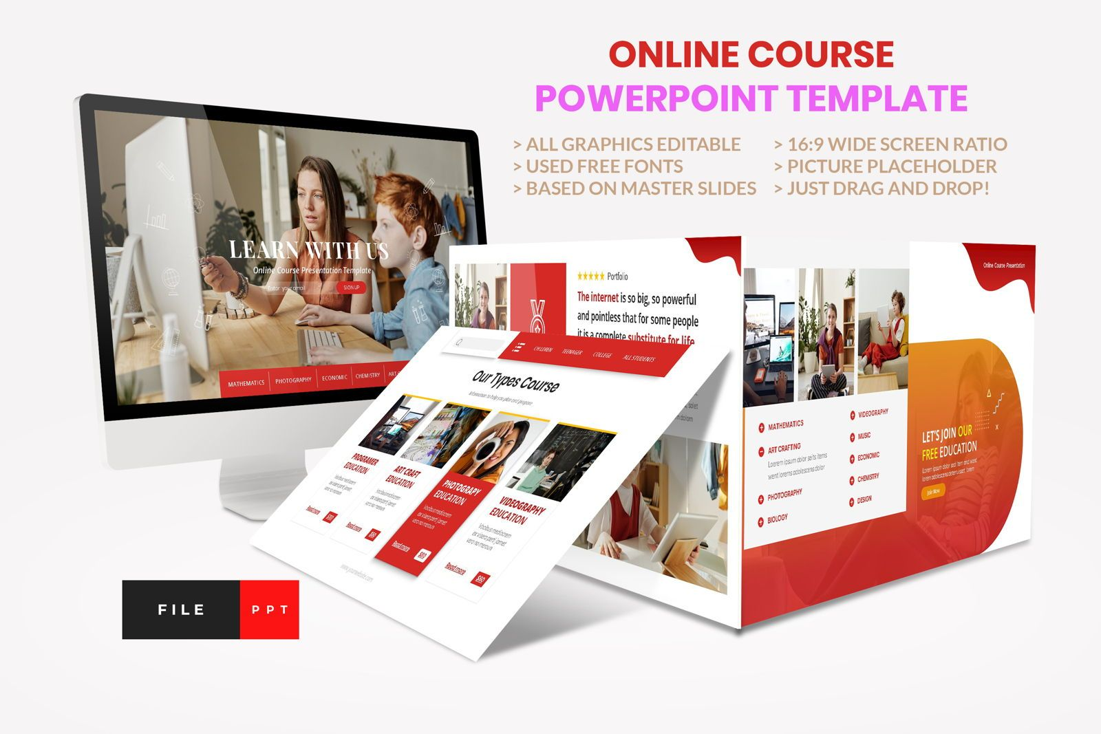 Online Course - Education PowerPoint Template, 08606, Presentation Templates — PoweredTemplate.com