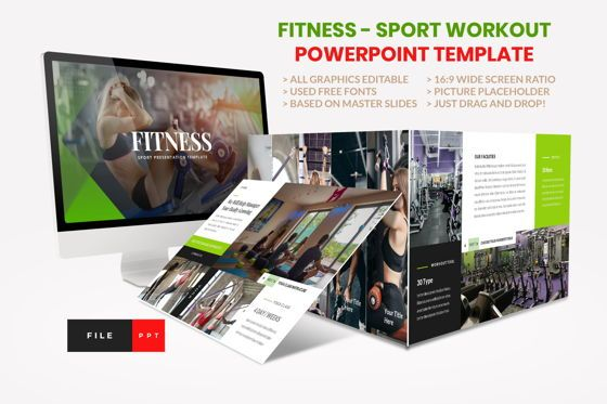 Presentation Templates: Sport - Fitness Business Workout PowerPoint Template #08607