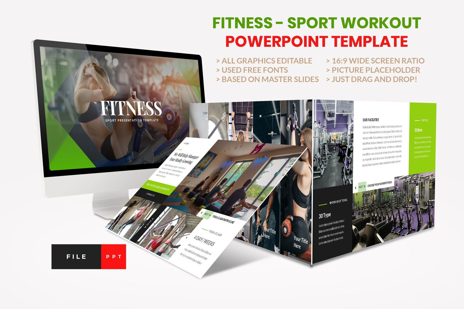 Sport - Fitness Business Workout PowerPoint Template, 08607, Presentation Templates — PoweredTemplate.com