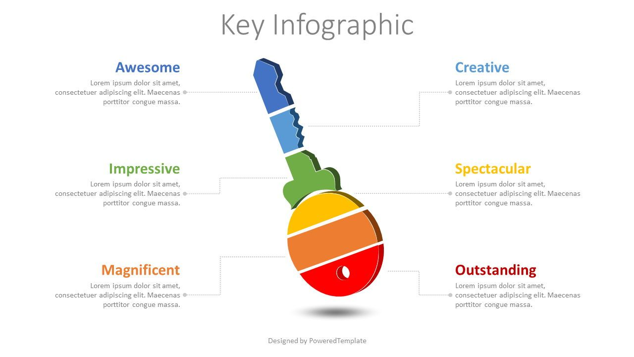Key Divided Into 6 Parts Infographic, 08608, Infographics — PoweredTemplate.com