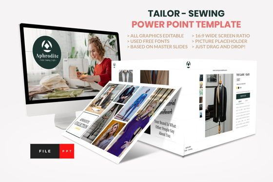 Business Models: Tailor - Sewing Fashion Craft Power Point Template #08609