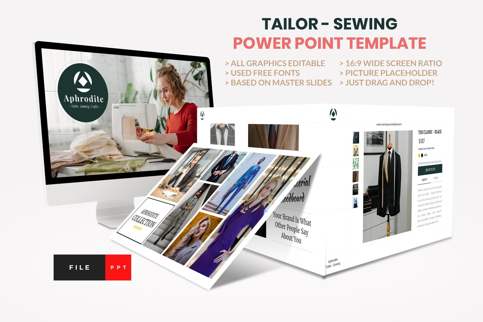 Tailor - Sewing Fashion Craft Power Point Template, 08609, Business Models — PoweredTemplate.com