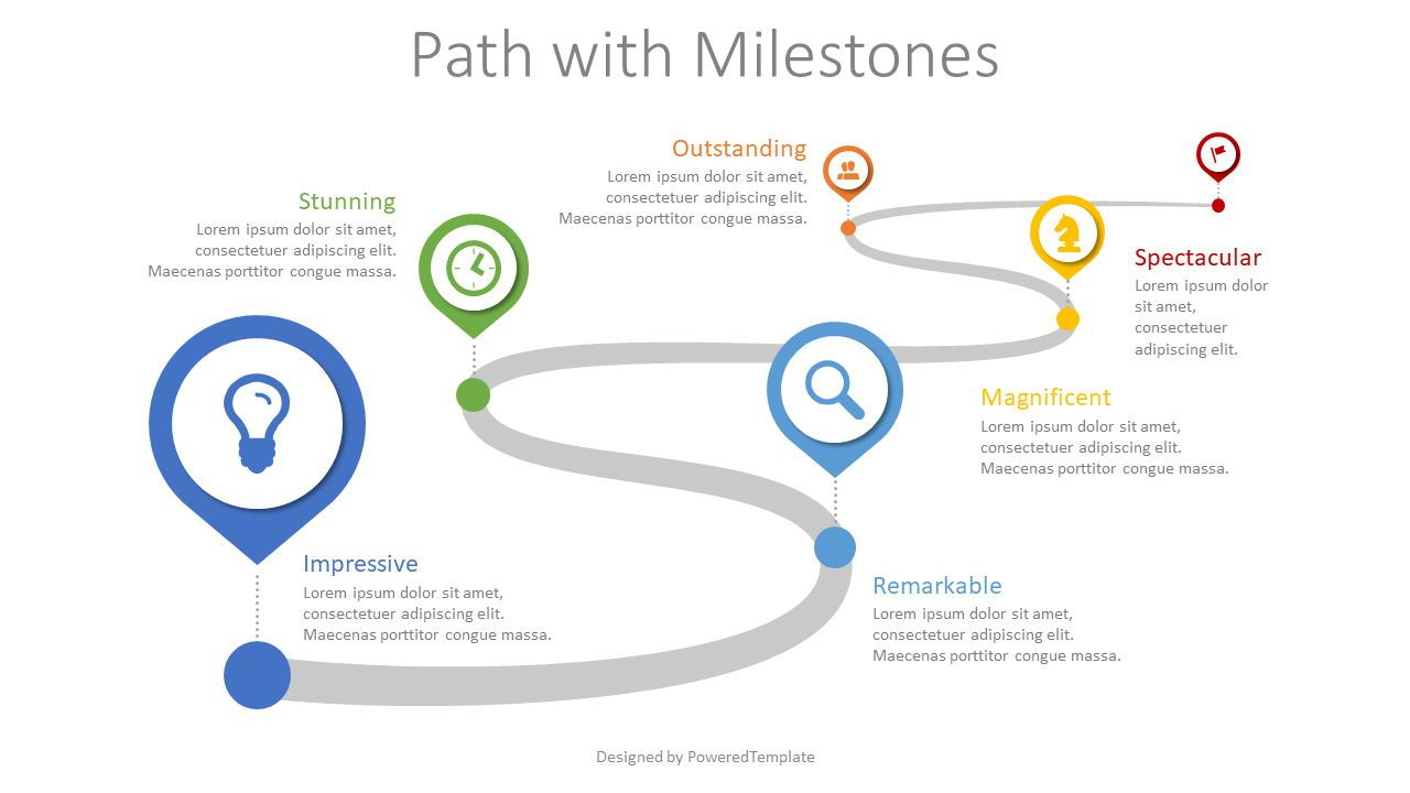Path with Milestones, 08617, Stage Diagrams — PoweredTemplate.com