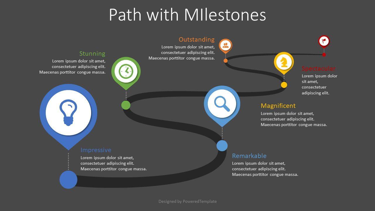Path with Milestones, Slide 2, 08617, Stage Diagrams — PoweredTemplate.com