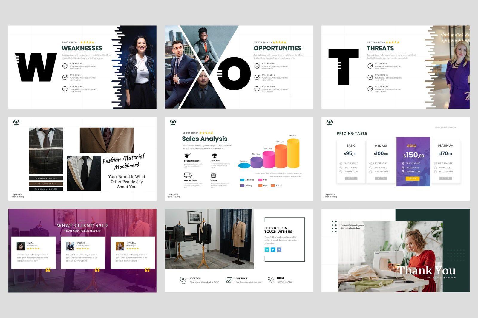 Tailor - Sewing Fashion Craft Google Slide Template, Slide 5, 08621, Business Models — PoweredTemplate.com