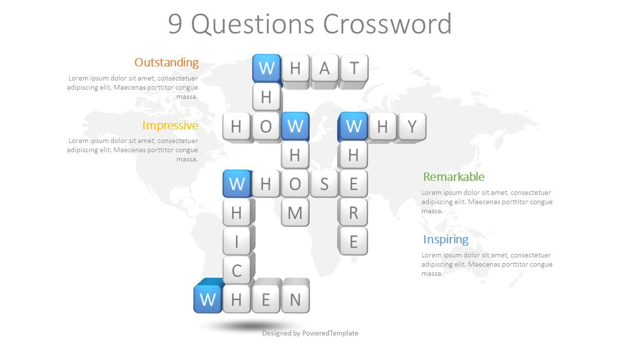 Question Words Crossword, 08626, Education Charts and Diagrams — PoweredTemplate.com